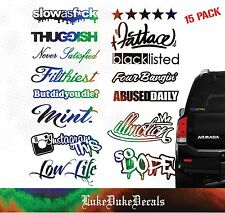 Black Oil Slick JDM Decal Multi Pack _ sticker bomb set QTY 15/ waterproof/1.4