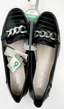 WIDE FIT SIZE 9 42 BLACK SILVER CHAIN LOAFERS FLATS NEW FAUX SNAKESKIN EFFECT