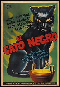 art painting vintage print black cat film movie canvas Gato negro framed canvas