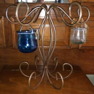 Pottery Barn '90s Forged Steel Glass Hanging Votive Ornament Display Table Stand