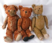 3 Vintage Brown Red and Tan Color Articulating Teddy Bears