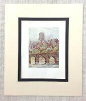 1906 Antique Print Durham Cathedral Elvet Bridge Landscape English Architecture