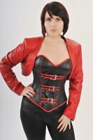 Genuine Leather Bolero Jacket for Corset Shrug Cropped Jacket Lined Black Red