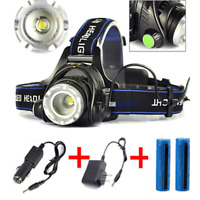 Lot Torch Lamp Headlamp LED Rechargeable Head Light Flashlight Zoom T6 Headlight