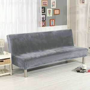 New Plush Armless Sofa Bed Cover Stretch Non-Slip Folding Couch Futon Protector