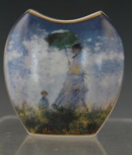 Vtg Goebel Claude Monet Woman With a Parasol Miniature Porcelain Cabinet Vase