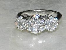 CARDOW 1.5CTW Invisible Set Round Diamond  Flower Ring 14k White Gold