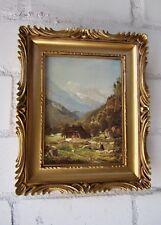 Barock Bilderrahmen Bild Gemälde Gold Landschaft BAUERN Berge 33x28  Haus Alpen