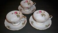 3 UCAGCO CHINA ROSE CUP AND SAUCER SETS