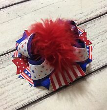 """5"""" Patriotic /4th of July Over The Top Boutique Hair Bow"""