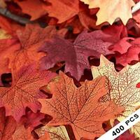 400pcs Mixed Fall Colored Artificial Maple Leaves for Weddings Decoraction Party