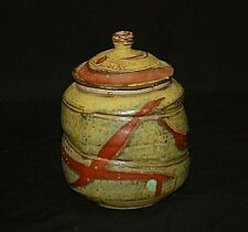 Classic Stoneware Canister Jar w Lid Handcrafted Art Pottery Earthtones Signed b