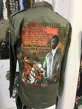 HAILE SELASSIE I KING OF ETHIOPIA KHAKI COLOUR ARMY STYLE JACKET RASTA ROOTS