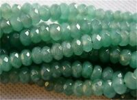 """Natural 5x8mm Faceted Green Jade Gemstone Abacus Loose Beads 15"""" AAA"""