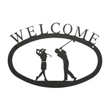 "Two Golfers Swinging Wrought Iron Powdercoated Black 11"" x 7""   Welcome Sign"
