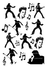Elvis Presley 60's silhouettes icing cupcake cake toppers decorations edible