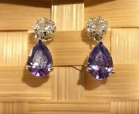 White Gold Pear Drop Dangle Earrings Purple Amethyst Sim Diamond BOXED Plum UK