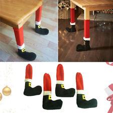 4x Christmas Santa Claus Floor Foot Protector Chair Table Leg Sock Sleeve Cover