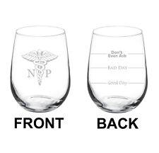 17oz Stemless Wine Glass 2 Sided NP Nurse Practitioner Caduceus
