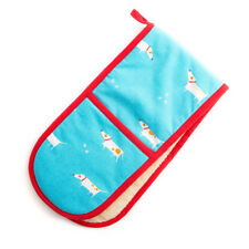 Dexam Double Oven Glove Mitt Patch the Dog Blue Cotton Insulated Towelling New