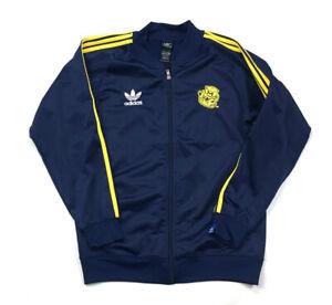 adidas Michigan Wolverines Navy Track Jacket Trefoil Retro Mascot Logo Youth L