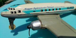 VNTG. MAGUAR TIN TOY FRICTION JET AIRPLANE AIRCRAFT HUNGARIAN AIR TRANSPORT