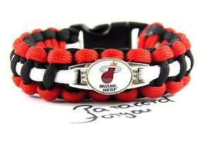 Miami Heat Paracord Armband mit NBA Charm-Frauen, Kinder + Männer Armband
