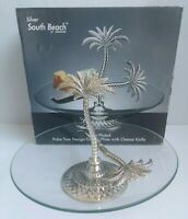 Godinger Silver Plated Palm Tree Design Glass Cheese Plate Knife Serving Platter