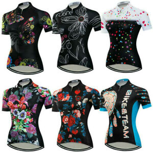 Women's Reflective Cycling Jersey Short Sleeve Ladies Bike Cycle Clothing Top