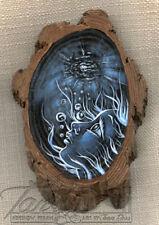 ORIGINAL TanDoll Art Painting Wood Saved Drowned Blue Woman Big Eye Artwork