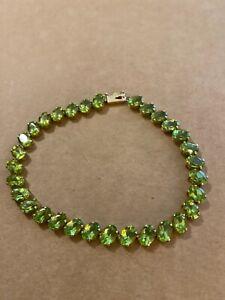"Beautiful 14k yellow gold peridot tennis bracelet - approx 8"" - 11.4g"