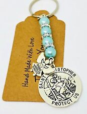 St Christopher & Guardian Angel Keyring, New Driver Driving test Talisman Gift