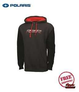 POLARIS MEN'S HOODIE HOODED SWEAT SHIRT CHARCOAL HEATHER W/ RED PULLOVER RZR NEW