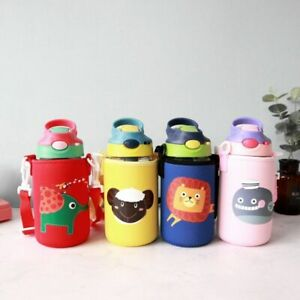 Kids Water Bottle Glass With Straw Bag Strap Locking Top Lid Leak Proof Carrier