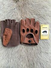 Men's fingerless Driving Peccary Leather Gloves All size's Black Brown Cognac