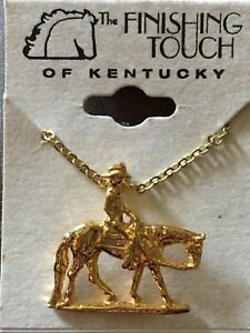 Gold Color Western Horse Rider Necklace made in usa