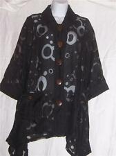 Black Sheer Collared Blouse by Kaktus with Wood Buttons Size M NWT