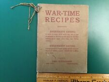 WW1 War Time Recipes Cook Book  for World Free Democracy John Wanamaker