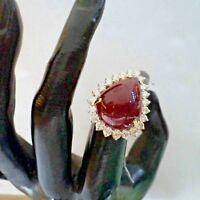 1.10ct NATURAL ROUND DIAMOND RUBY GEMSTONE 14K YELLOW GOLD COCKTAIL RING SIZE 7