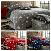 STARS Teddy Bear Fleece Duvet Cover Set Sherpa Thermal Warm Soft Cozy Bedding