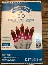 Holiday Time 50 Pink LED Mini Lights White Wire Christmas