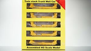 A-Line 5-Pack Twin Stack Container Car TTX HO scale