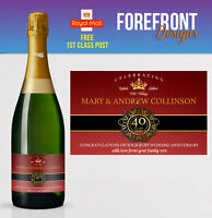 Personalised Champagne bottle label 40th RUBY wedding anniversary/wedding