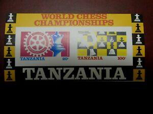 Briefmarkenblock Tanzania,Schach,Nr.54(Nr.313-14),ungezähnt,seltene Abart,postfr