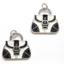 4 Enamel Black and white Handbag charms 25X23mm Jewellery Making