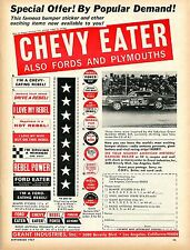 1967 Chevy Ford Plymouth Eater Bumper Sticker Ad w/ Grant Rambler Rebel SST