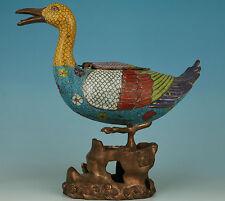 2.2KG Big old Cloisonne copper casting Duck Statues Buddha Incense Burner