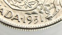 1951 Canada 50 Cents Wide Date WD Half Dollar Circulated George VI Coin R642