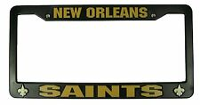 New Orleans Saints BLACK Plastic License Plate Tag Frame Cover Football