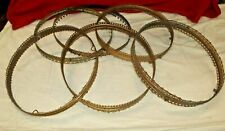 "ORNATE BRASS HANGING OIL~GAS LAMP SHADE CROWN RINGS~ 14""~ PRISIM HOLES~ LOT OF 6"